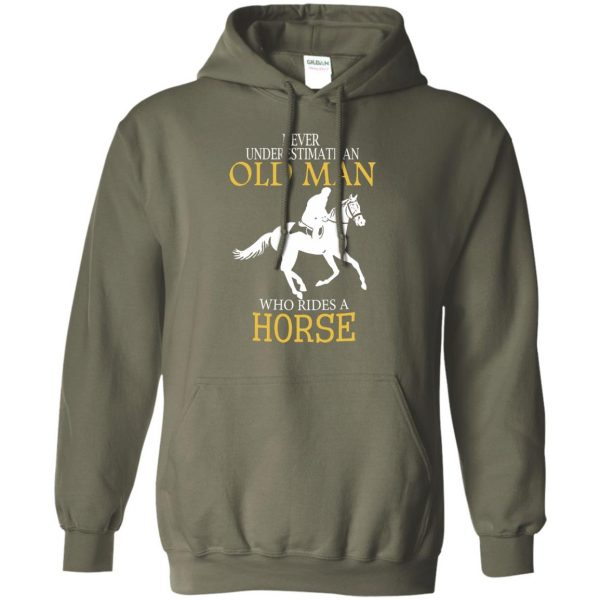 horse riding man shirt hoodie - military green