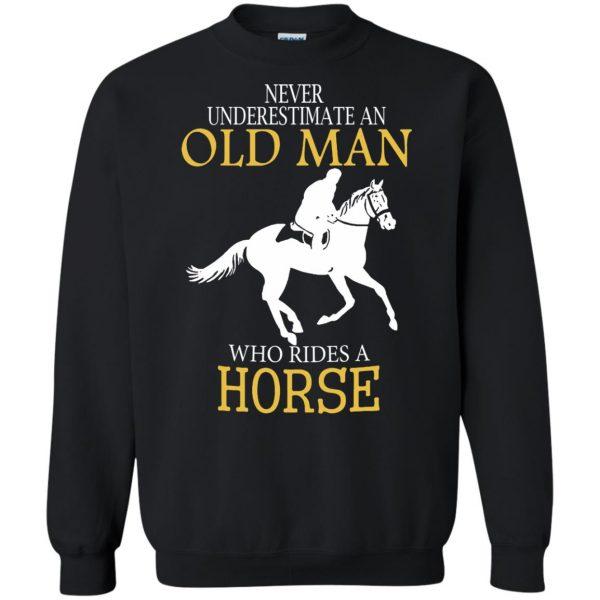 horse riding man shirt sweatshirt - black