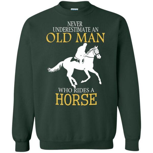 horse riding man shirt sweatshirt - forest green