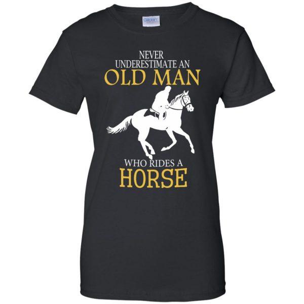 horse riding man shirt womens t shirt - lady t shirt - black