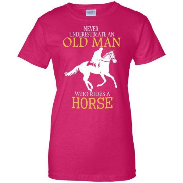 horse riding man shirt womens t shirt - lady t shirt - pink heliconia