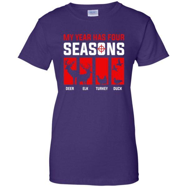 Four Seasons Of Hunting womens t shirt - lady t shirt - purple