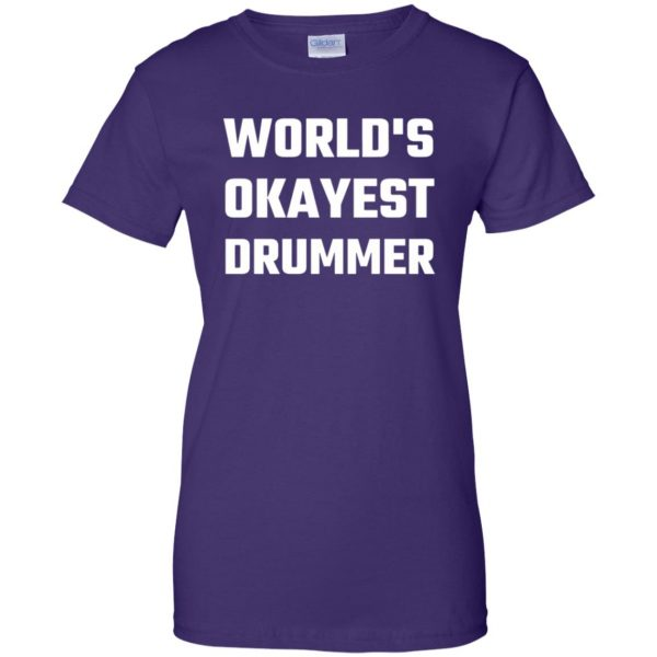 World's Okayest Drummer womens t shirt - lady t shirt - purple