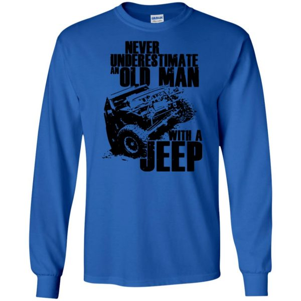 vintage jeep t shirts long sleeve - royal blue
