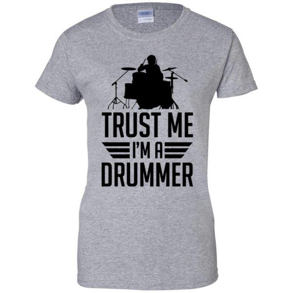 Trust Me I'm A Drummer womens t shirt - lady t shirt - sport grey