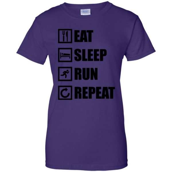 eat sleep run repeat shirt womens t shirt - lady t shirt - purple