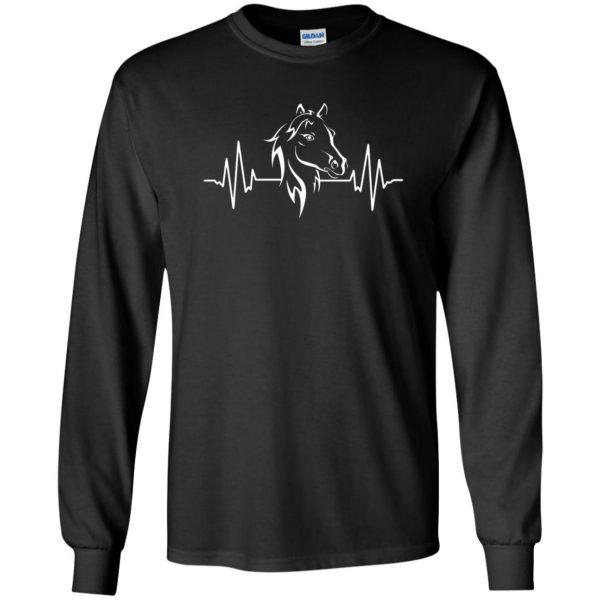 horse heartbeat shirt long sleeve - black