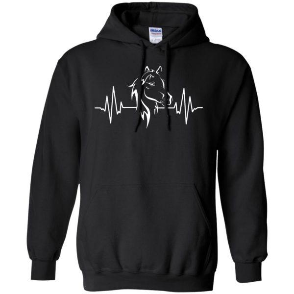 horse heartbeat shirt hoodie - black