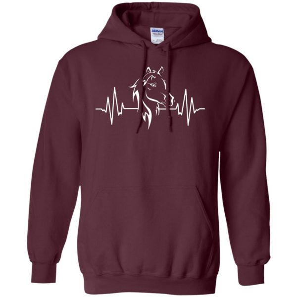 horse heartbeat shirt hoodie - maroon