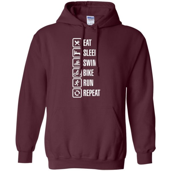 Eat sleep swim bike run repeat hoodie - maroon