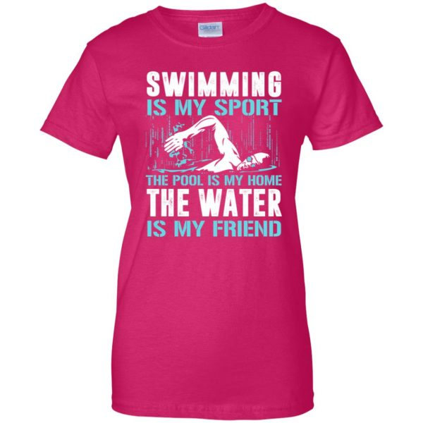 Swimming is my sport womens t shirt - lady t shirt - pink heliconia