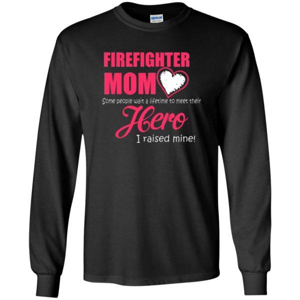 firefighter mom shirt long sleeve - black