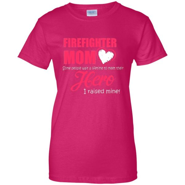 firefighter mom shirt womens t shirt - lady t shirt - pink heliconia