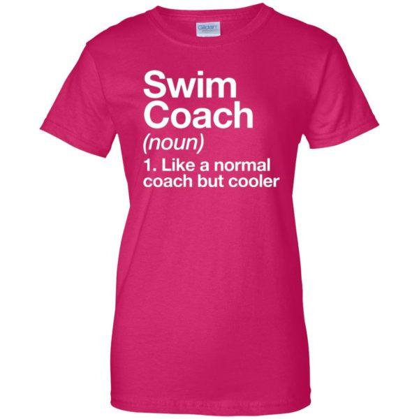 Swim Coach womens t shirt - lady t shirt - pink heliconia
