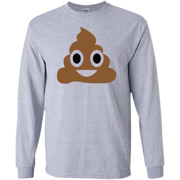 poop emoji t shirt long sleeve - sport grey