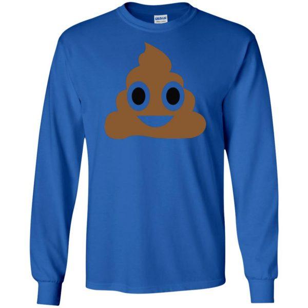 poop emoji t shirt long sleeve - royal blue