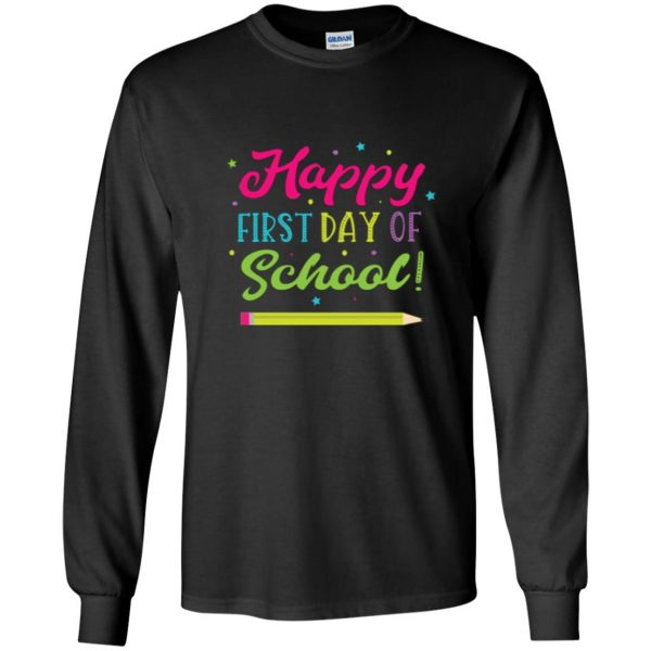 first day of school t shirt kids long sleeve - black