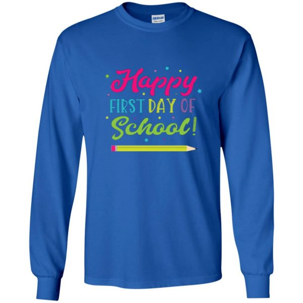 first day of school t shirt kids long sleeve - royal blue