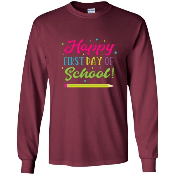 first day of school t shirt kids long sleeve - maroon