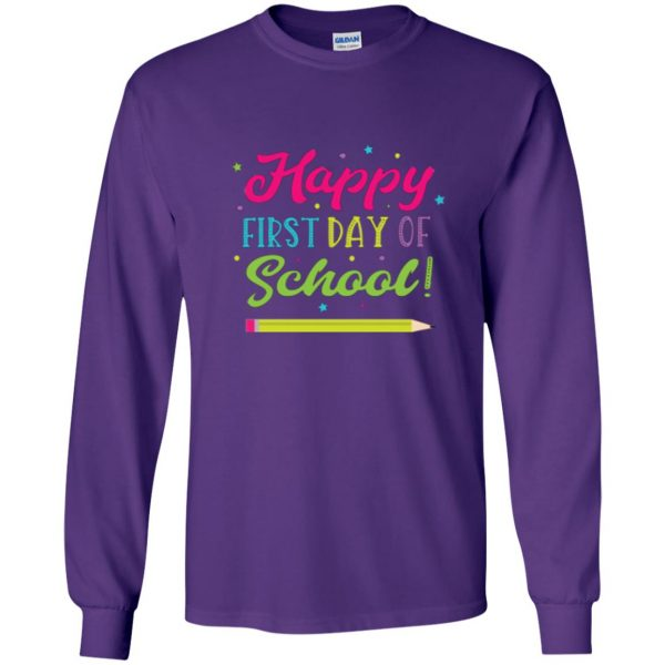 first day of school t shirt kids long sleeve - purple