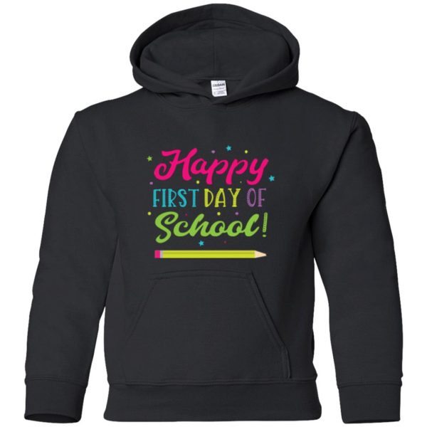first day of school t shirt kids hoodie - black