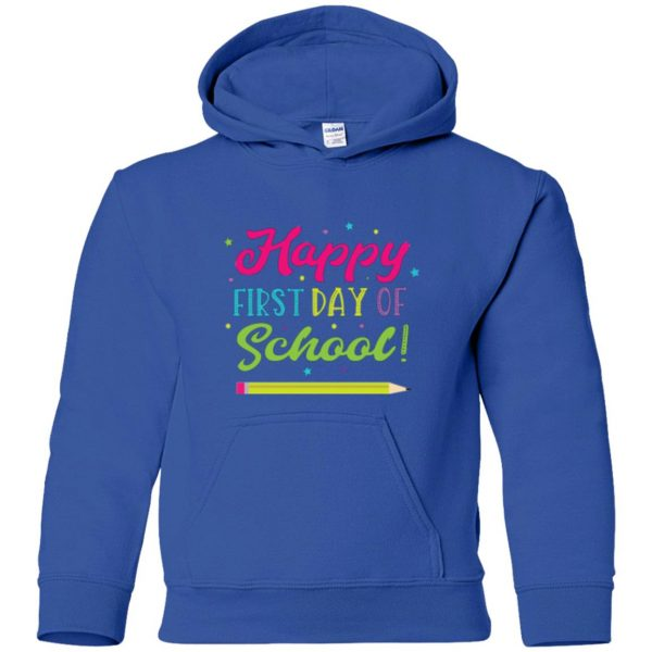 first day of school t shirt kids hoodie - royal blue