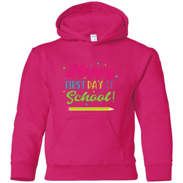 first day of school t shirt kids hoodie - pink heliconia