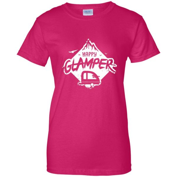 happy glamper womens t shirt - lady t shirt - pink heliconia