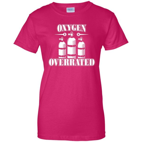 Oxygen is Overrated womens t shirt - lady t shirt - pink heliconia