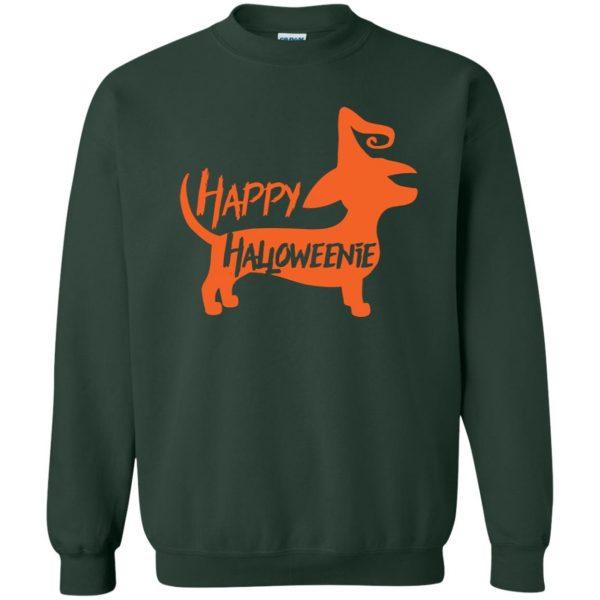 happy halloweenie sweatshirt - forest green