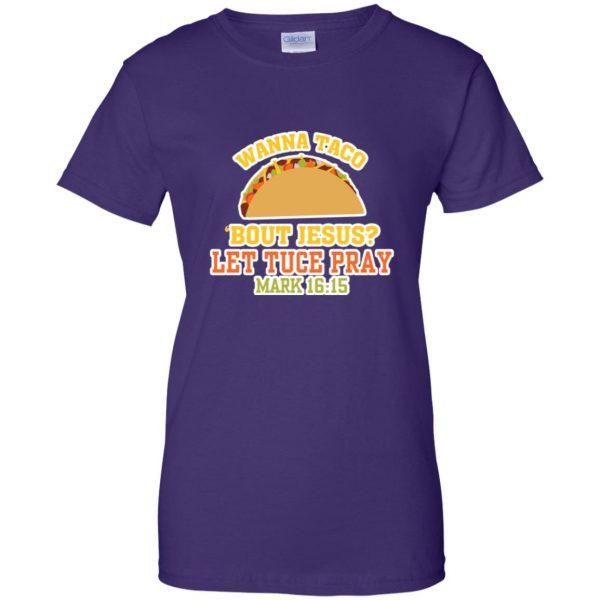 wanna taco bout jesus womens t shirt - lady t shirt - purple