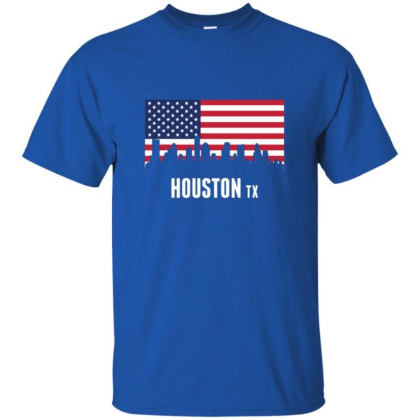 houston skyline t shirt - royal blue