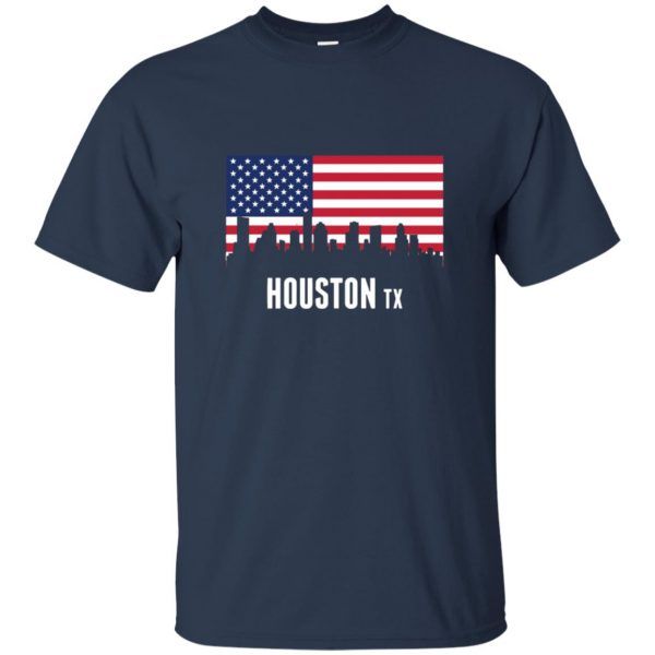 houston skyline t shirt - navy blue