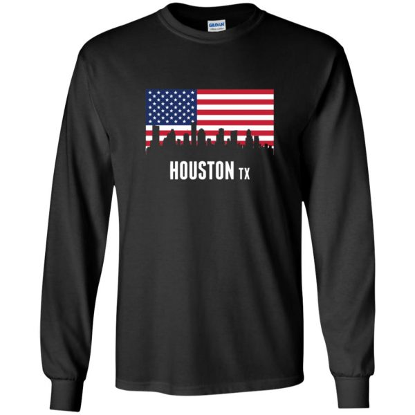 houston skyline long sleeve - black