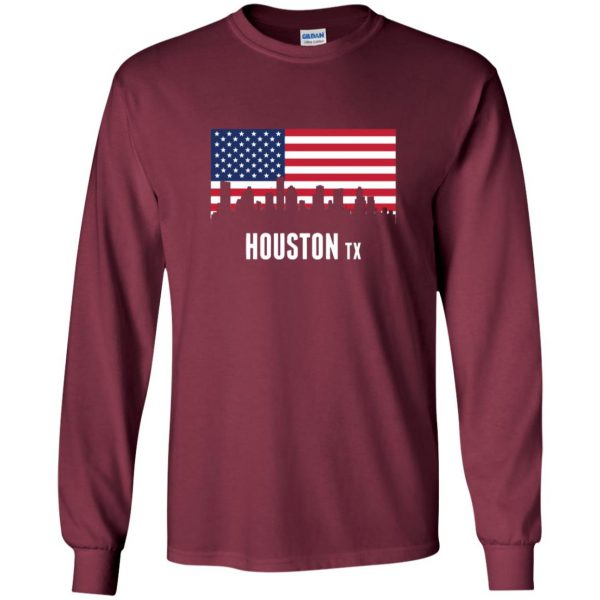houston skyline long sleeve - maroon