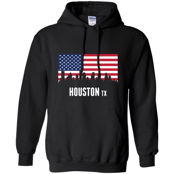 houston skyline hoodie - black