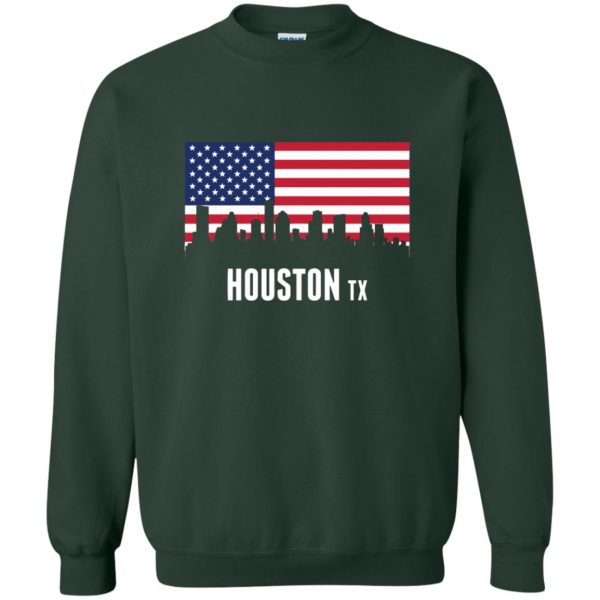 houston skyline sweatshirt - forest green