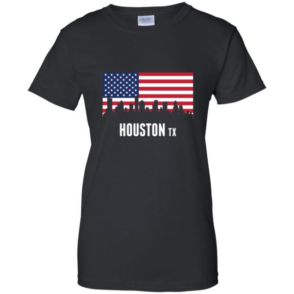 houston skyline womens t shirt - lady t shirt - black