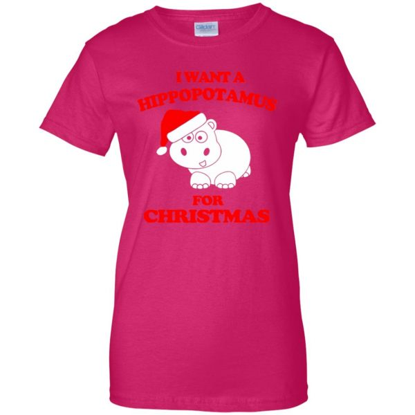 i want a hippopotamus for christmas t shirt womens t shirt - lady t shirt - pink heliconia