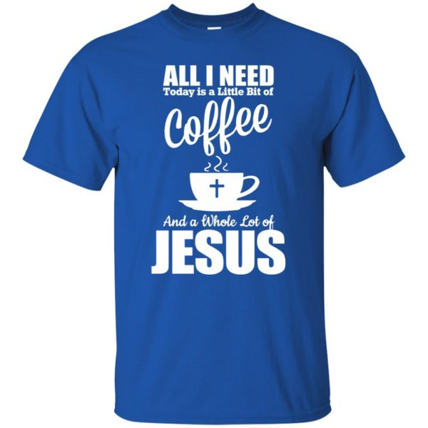 jesus coffee t shirt - royal blue