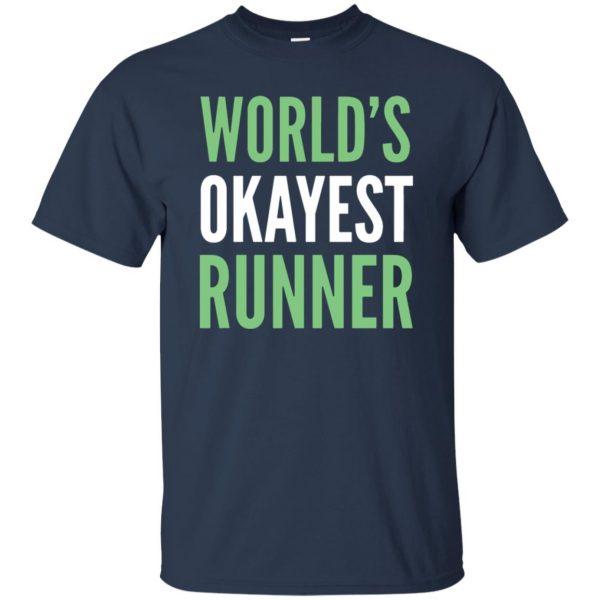 World's Okayest Runner t shirt - navy blue