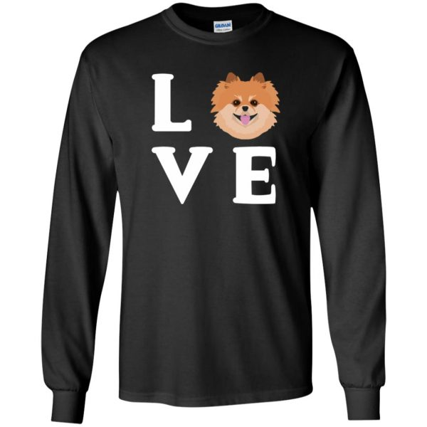 pomeranian face t shirt long sleeve - black