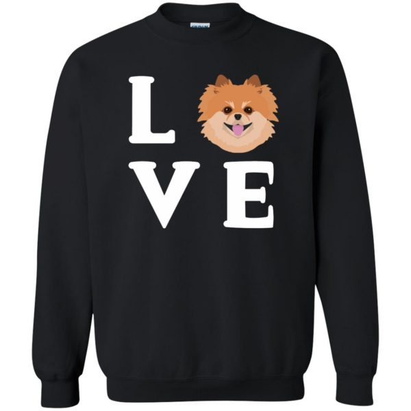 pomeranian face t shirt sweatshirt - black