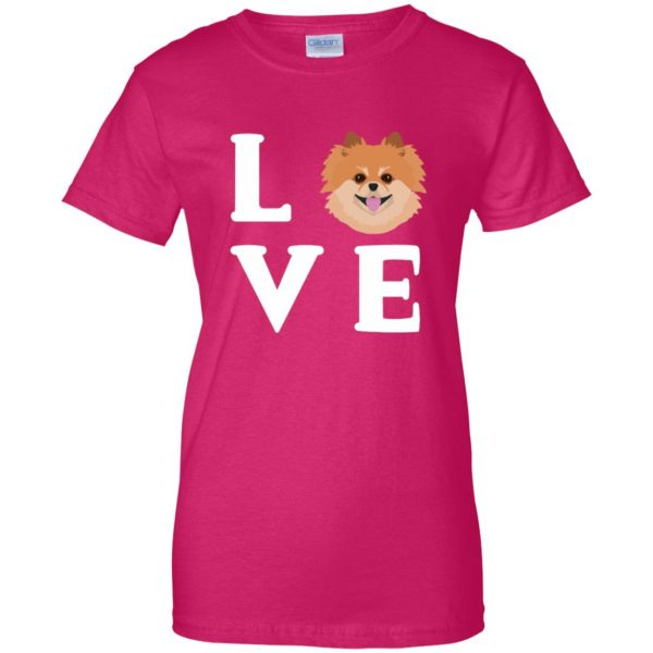 pomeranian face womens t shirt - lady t shirt - pink heliconia