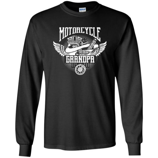 grandpa biker shirts long sleeve - black