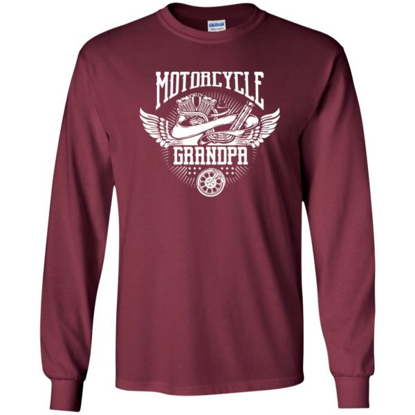 grandpa biker shirts long sleeve - maroon