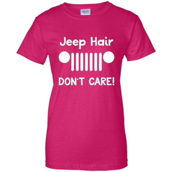 jeep hair womens t shirt - lady t shirt - pink heliconia