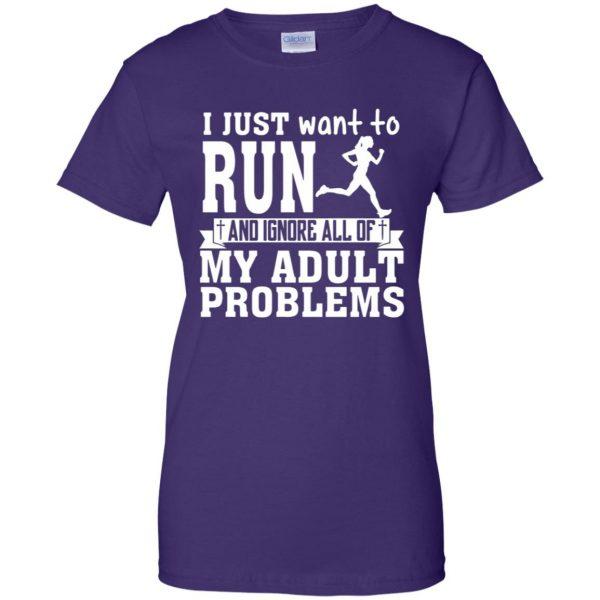 I Just Want To Run womens t shirt - lady t shirt - purple