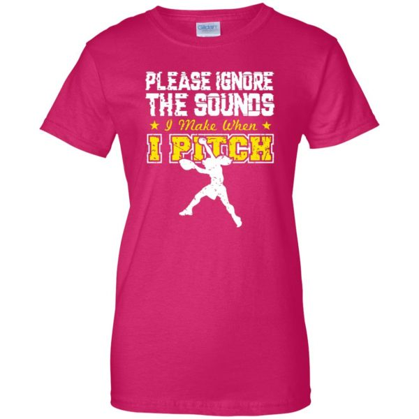 softball pitcher womens t shirt - lady t shirt - pink heliconia
