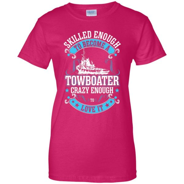 towboater womens t shirt - lady t shirt - pink heliconia